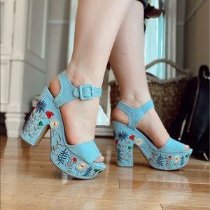 Blue Floral Embroidered Platform Heels